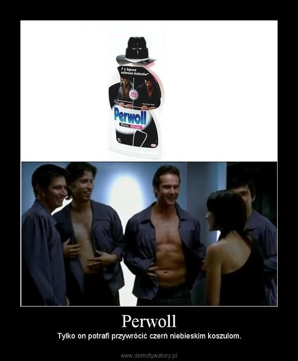 Perwoll – Tylko on potrafi przywrócić czerń niebieskim koszulom.