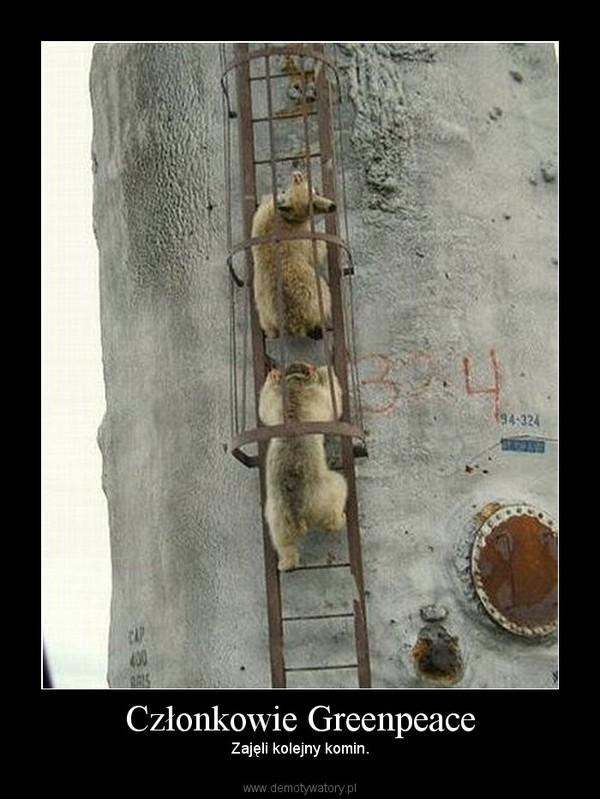 Członkowie Greenpeace – Zajęli kolejny komin.