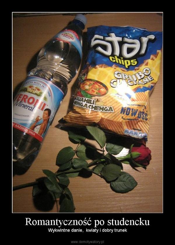 Romantyczność po studencku – Wykwintne danie,  kwiaty i dobry trunek