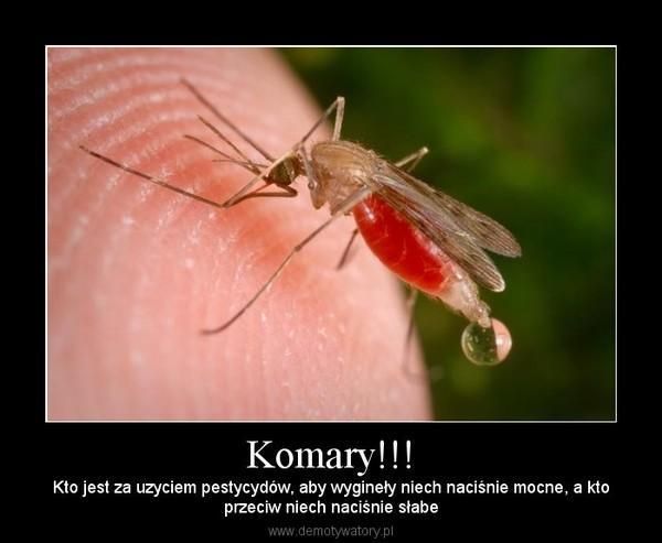 Komary!!! – Kto jest za uzyciem pestycydów, aby wygineły niech naciśnie mocne, a ktoprzeciw niech naciśnie słabe