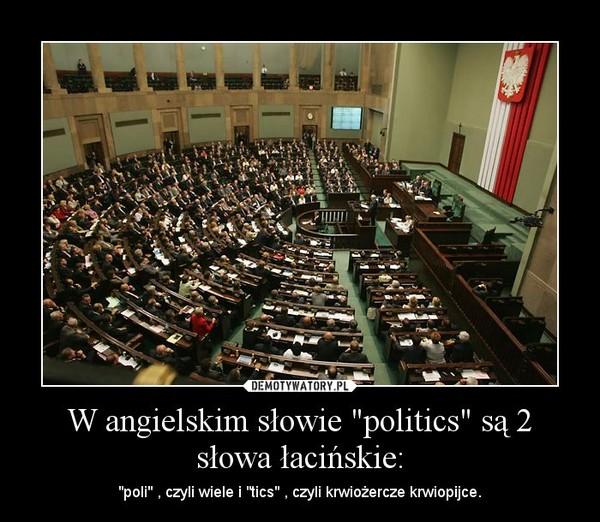 """W angielskim słowie """"politics"""" są 2 słowa łacińskie: – """"poli"""" , czyli wiele i """"tics"""" , czyli krwiożercze krwiopijce."""