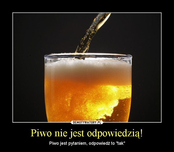 """Piwo nie jest odpowiedzią! – Piwo jest pytaniem, odpowiedź to """"tak"""""""