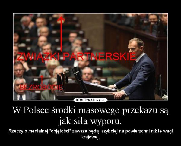 """W Polsce środki masowego przekazu są jak siła wyporu. – Rzeczy o medialnej """"objętości"""" zawsze będą  szybciej na powierzchni niż te wagi krajowej."""