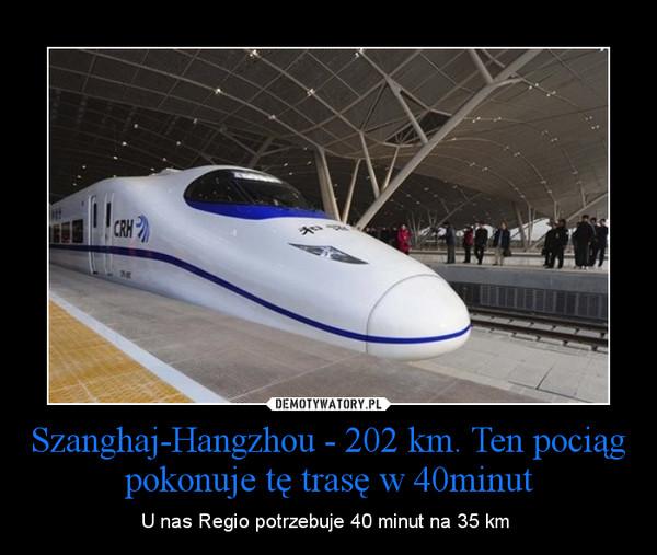 Szanghaj-Hangzhou - 202 km. Ten pociąg pokonuje tę trasę w 40minut – U nas Regio potrzebuje 40 minut na 35 km