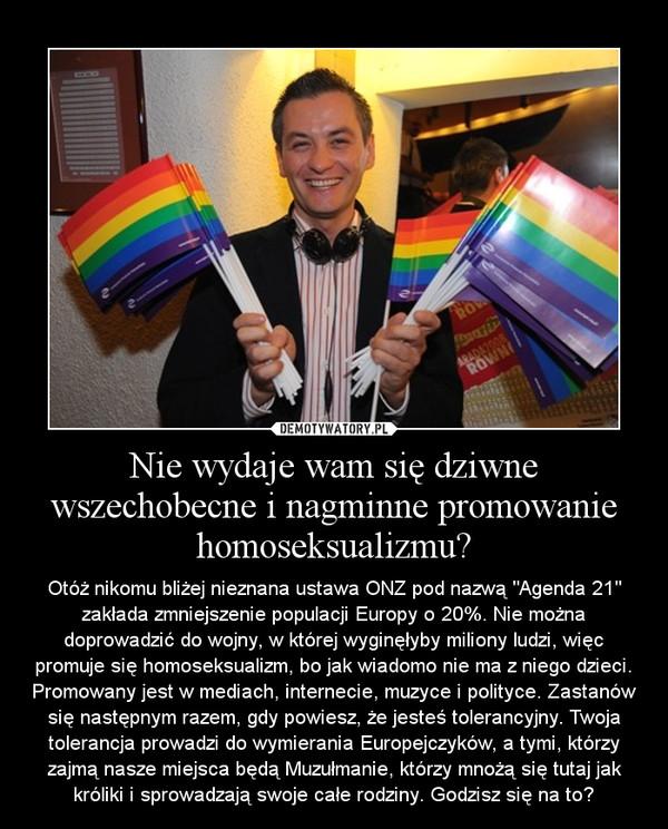 """Nie wydaje wam się dziwne wszechobecne i nagminne promowanie homoseksualizmu? – Otóż nikomu bliżej nieznana ustawa ONZ pod nazwą """"Agenda 21"""" zakłada zmniejszenie populacji Europy o 20%. Nie można doprowadzić do wojny, w której wyginęłyby miliony ludzi, więc promuje się homoseksualizm, bo jak wiadomo nie ma z niego dzieci. Promowany jest w mediach, internecie, muzyce i polityce. Zastanów się następnym razem, gdy powiesz, że jesteś tolerancyjny. Twoja tolerancja prowadzi do wymierania Europejczyków, a tymi, którzy zajmą nasze miejsca będą Muzułmanie, którzy mnożą się tutaj jak króliki i sprowadzają swoje całe rodziny. Godzisz się na to?"""
