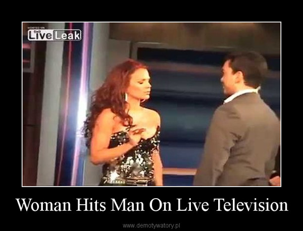Woman Hits Man On Live Television –