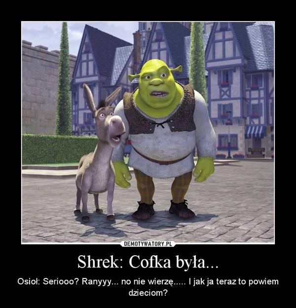 Shrek: Cofka była... – Osioł: Seriooo? Ranyyy... no nie wierzę..... I jak ja teraz to powiem dzieciom?