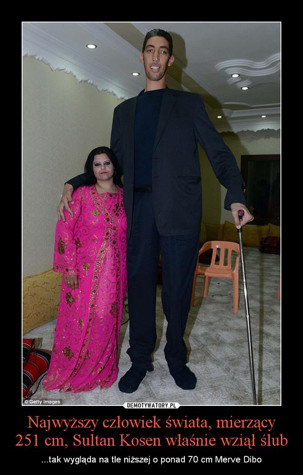 Najwyższy człowiek świata, mierzący 251 cm, Sultan Kosen właśnie wziął ślub – ...tak wygląda na tle niższej o ponad 70 cm Merve Dibo