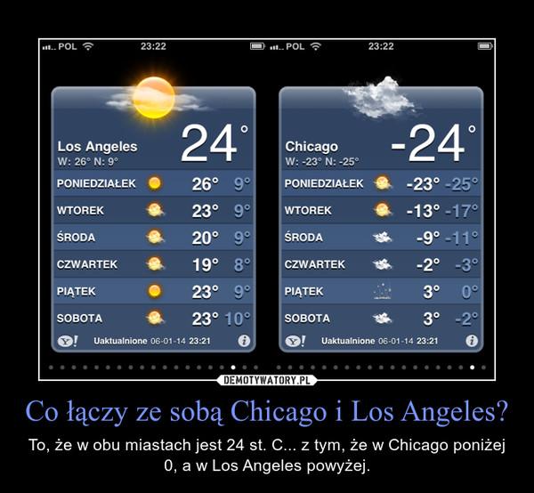 Co łączy ze sobą Chicago i Los Angeles? – To, że w obu miastach jest 24 st. C... z tym, że w Chicago poniżej 0, a w Los Angeles powyżej.