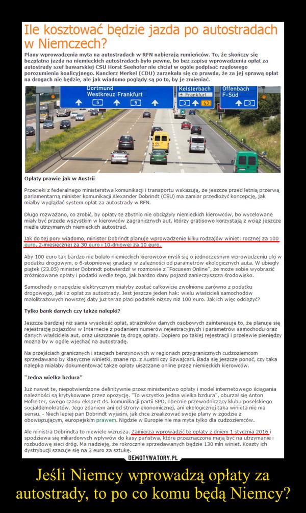 Jeśli Niemcy wprowadzą opłaty za autostrady, to po co komu będą Niemcy? –