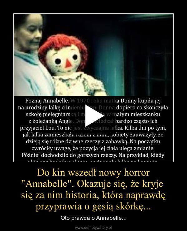 """Do kin wszedł nowy horror""""Annabelle"""". Okazuje się, że kryje się za nim historia, która naprawdę przyprawia o gęsią skórkę... – Oto prawda o Annabelle..."""