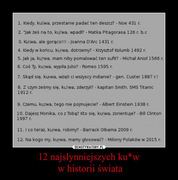 12 najsłynniejszych ku*w w historii świata –