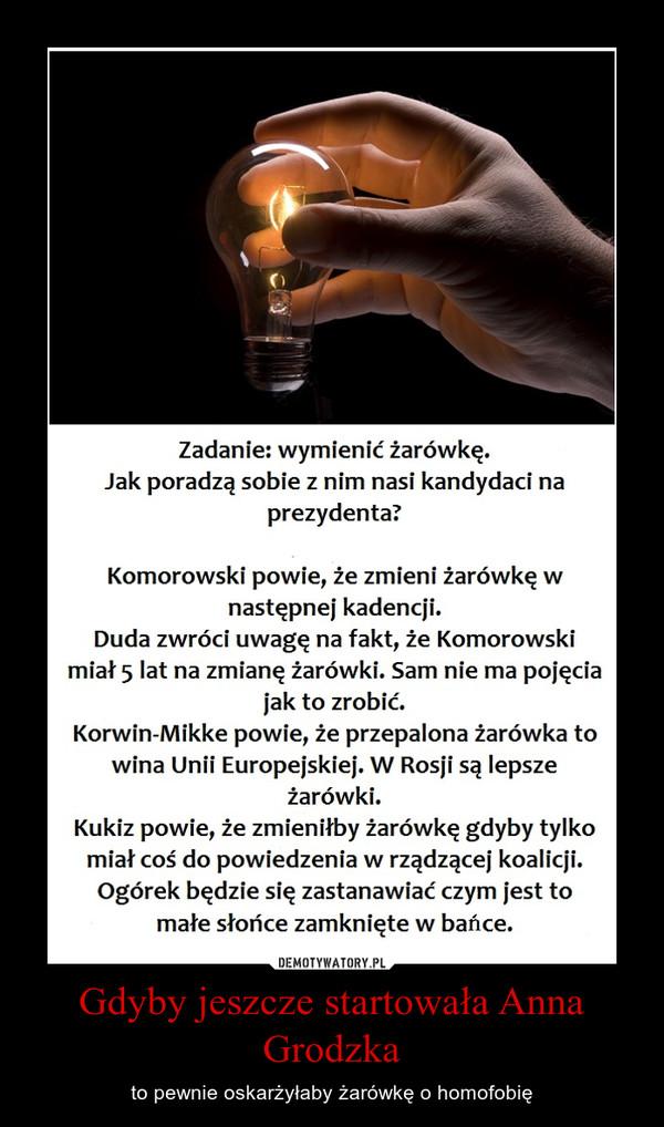 Gdyby jeszcze startowała Anna Grodzka – to pewnie oskarżyłaby żarówkę o homofobię