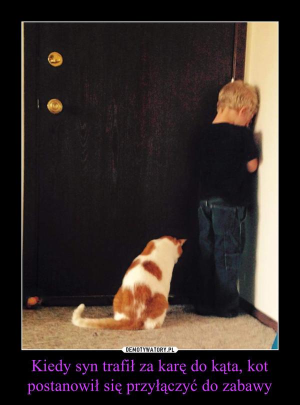Kiedy syn trafił za karę do kąta, kot postanowił się przyłączyć do zabawy –