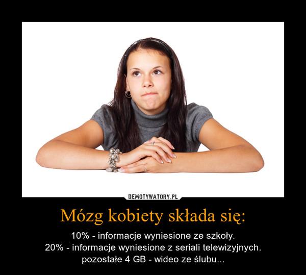 Mózg kobiety składa się: – 10% - informacje wyniesione ze szkoły.20% - informacje wyniesione z seriali telewizyjnych.pozostałe 4 GB - wideo ze ślubu...