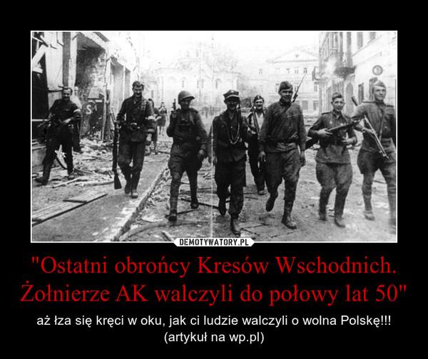 """""""Ostatni obrońcy Kresów Wschodnich. Żołnierze AK walczyli do połowy lat 50"""" – aż łza się kręci w oku, jak ci ludzie walczyli o wolna Polskę!!! (artykuł na wp.pl)"""