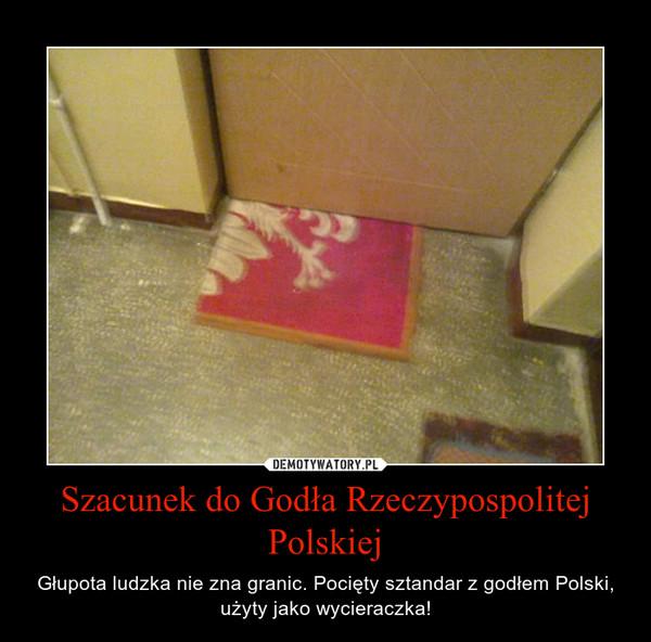 Szacunek do Godła Rzeczypospolitej Polskiej – Głupota ludzka nie zna granic. Pocięty sztandar z godłem Polski, użyty jako wycieraczka!