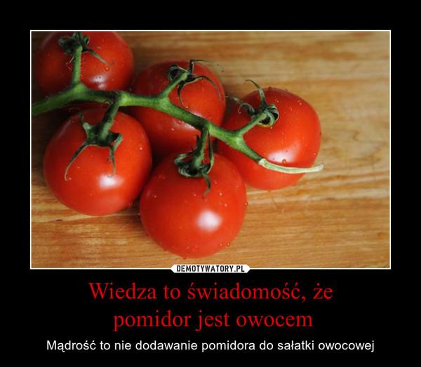 Wiedza to świadomość, że pomidor jest owocem – Mądrość to nie dodawanie pomidora do sałatki owocowej