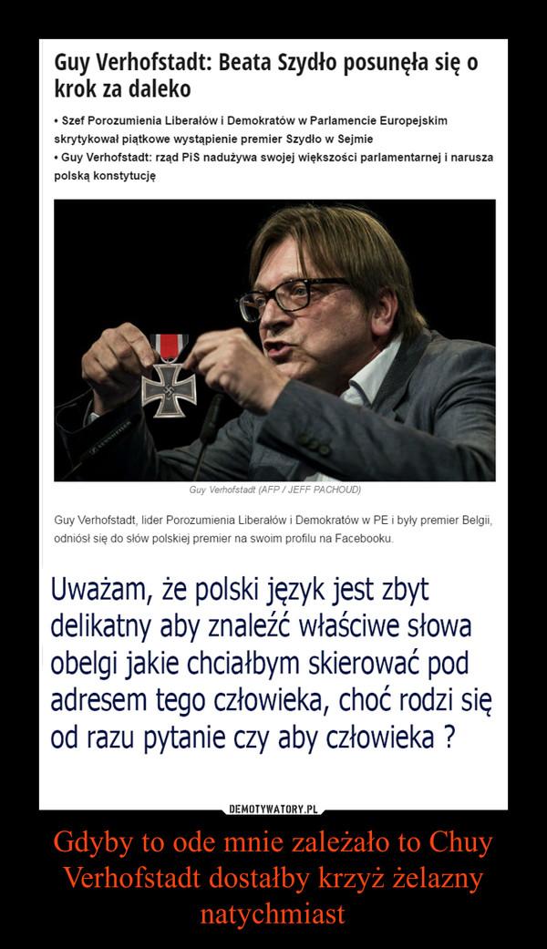 Gdyby to ode mnie zależało to Chuy Verhofstadt dostałby krzyż żelazny natychmiast –