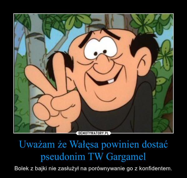 Uważam że Wałęsa powinien dostać pseudonim TW Gargamel – Bolek z bajki nie zasłużył na porównywanie go z konfidentem.