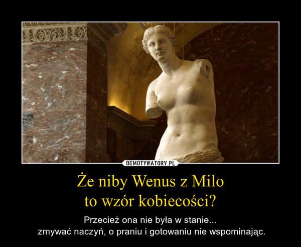 Że niby Wenus z Miloto wzór kobiecości? – Przecież ona nie była w stanie... zmywać naczyń, o praniu i gotowaniu nie wspominając.