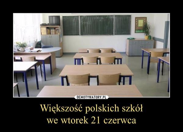 Większość polskich szkółwe wtorek 21 czerwca –