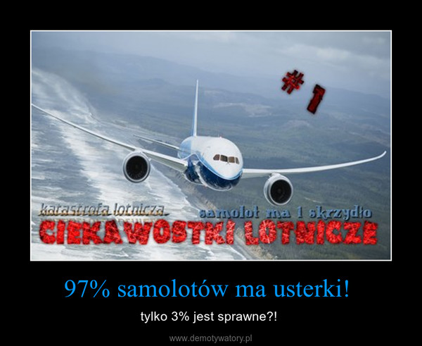 97% samolotów ma usterki!  – tylko 3% jest sprawne?!