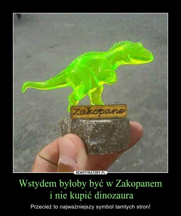Wstydem byłoby być w Zakopanem i nie kupić dinozaura – Przecież to najważniejszy symbol tamtych stron!