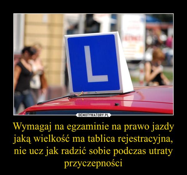 Wymagaj na egzaminie na prawo jazdy jaką wielkość ma tablica rejestracyjna, nie ucz jak radzić sobie podczas utraty przyczepności –