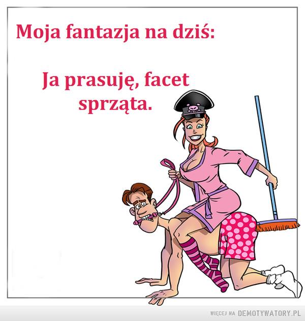 Dzika fantazja –  Moja fantazja na dziś:Ja prasuję, facet sprząta.