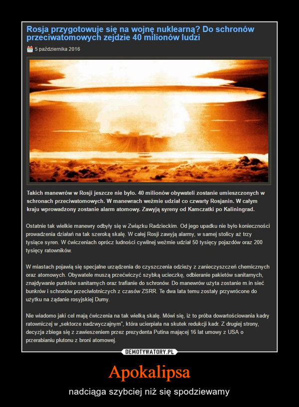 Apokalipsa – nadciąga szybciej niż się spodziewamy