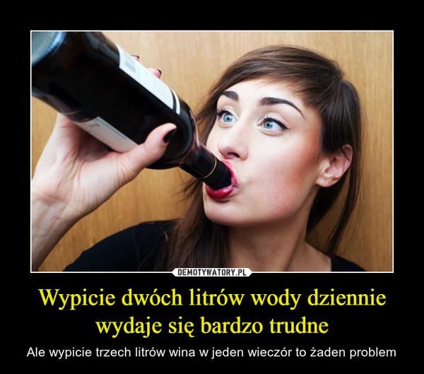 Wypicie dwóch litrów wody dziennie wydaje się bardzo trudne – Ale wypicie trzech litrów wina w jeden wieczór to żaden problem