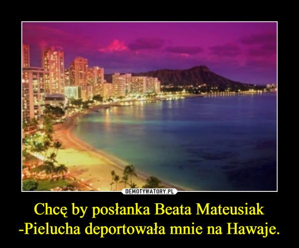 Chcę by posłanka Beata Mateusiak -Pielucha deportowała mnie na Hawaje. –