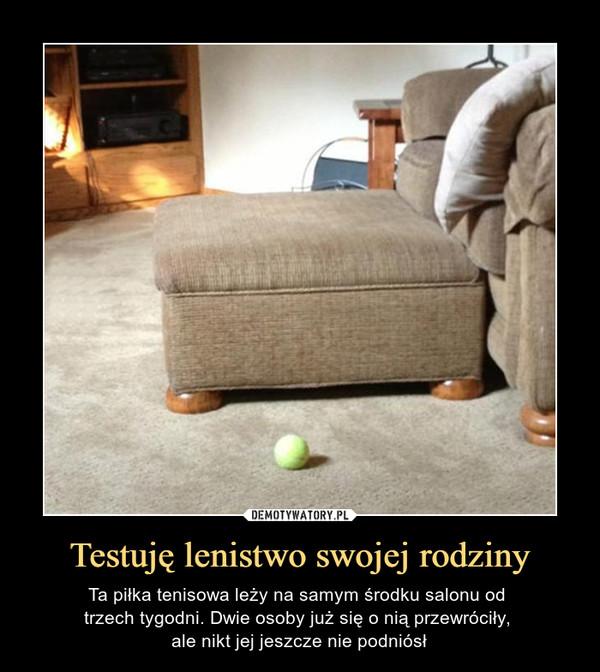 Testuję lenistwo swojej rodziny – Ta piłka tenisowa leży na samym środku salonu od trzech tygodni. Dwie osoby już się o nią przewróciły, ale nikt jej jeszcze nie podniósł