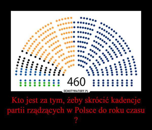 Kto jest za tym, żeby skrócić kadencje partii rządzących w Polsce do roku czasu ? –
