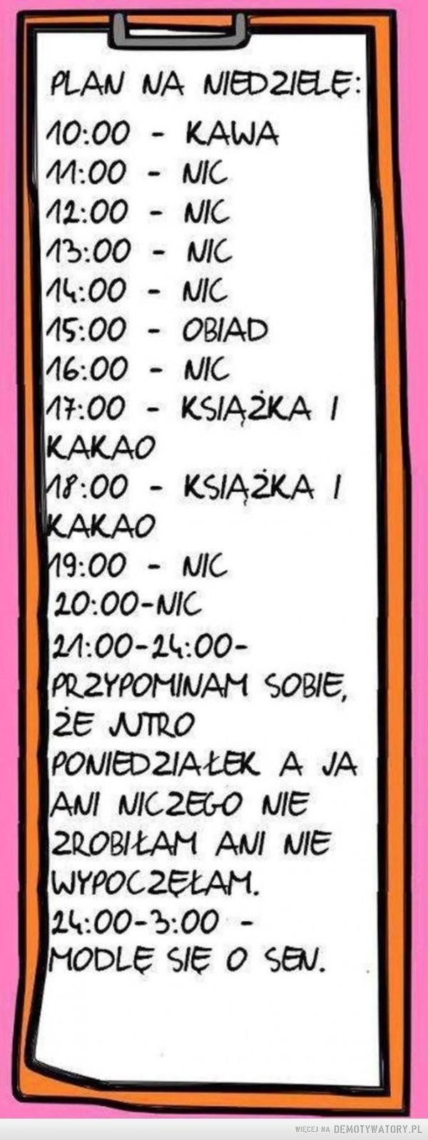 Plan na niedzielę –  PLAN NA NIEDZIELĘ:10:00 KAWA11:00 NIC12:00 NIC13:00 NIC14:00 NIC15:00 OBIAD16:00 NIC