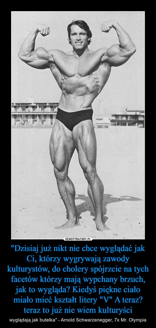 """""""Dzisiaj już nikt nie chce wyglądać jak Ci, którzy wygrywają zawody kulturystów, do cholery spójrzcie na tych facetów którzy mają wypchany brzuch, jak to wygląda? Kiedyś piękne ciało miało mieć kształt litery """"V"""" A teraz? teraz to już nie w – wyglądają jak butelka"""" - Arnold Schwarzenegger, 7x Mr. Olympia"""