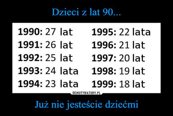 Już nie jesteście dziećmi –  1990: 27 lat 1995: 22 lata 1991: 26 lat 1996: 21 lat 1992: 25 lat 1997: 20 lat 1993: 24 lata 1998: 19 lat 1994: 23 lata 1999: 18 lat