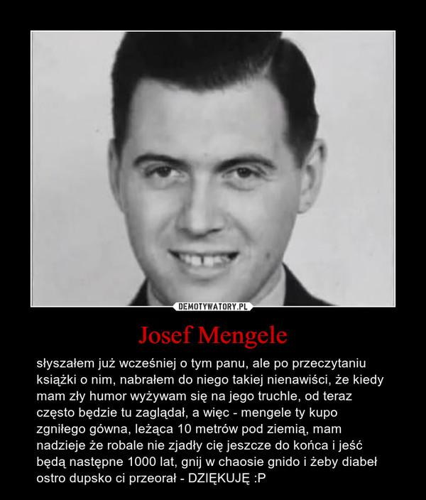 Josef Mengele – słyszałem już wcześniej o tym panu, ale po przeczytaniu książki o nim, nabrałem do niego takiej nienawiści, że kiedy mam zły humor wyżywam się na jego truchle, od teraz często będzie tu zaglądał, a więc - mengele ty kupo zgniłego gówna, leżąca 10 metrów pod ziemią, mam nadzieje że robale nie zjadły cię jeszcze do końca i jeść będą następne 1000 lat, gnij w chaosie gnido i żeby diabeł ostro dupsko ci przeorał - DZIĘKUJĘ :P