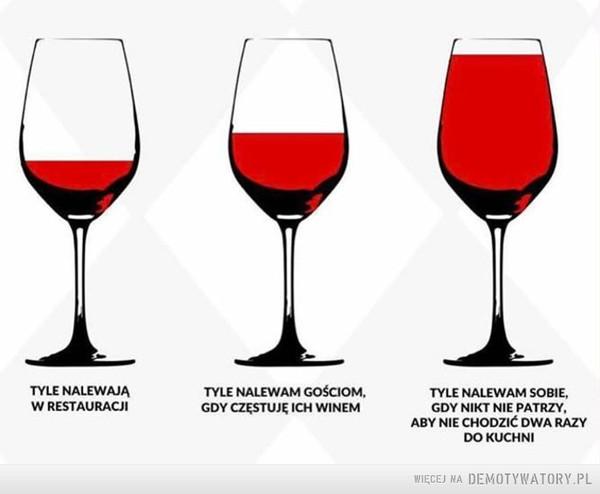 Wino –  TYLE NALEWAJĄW RESTAURACJITYLE NALEWAM GOŚCIOM.GDY CZĘSTUJĘ ICH WINEMTYLE NALEWAM SOBIE,GDY NIKT NIE PATRZY.ABY NIE CHODZIĆ DWA RAZYDO KUCHNI