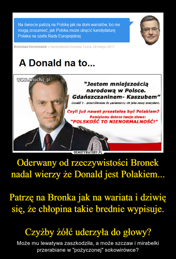"""Oderwany od rzeczywistości Bronek nadal wierzy że Donald jest Polakiem...Patrzę na Bronka jak na wariata i dziwię się, że chłopina takie brednie wypisuje.Czyżby żółć uderzyła do głowy? – Może mu lewatywa zaszkodziła, a może szczaw i mirabelki przerabiane w """"pożyczonej"""" sokowirówce?"""