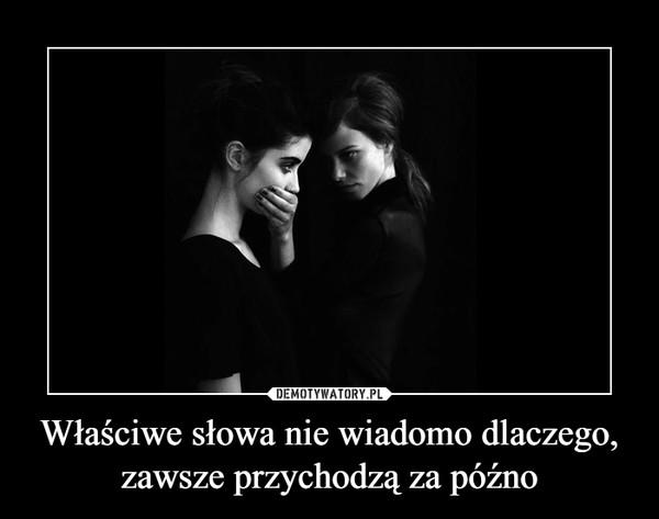 Właściwe słowa nie wiadomo dlaczego, zawsze przychodzą za późno –