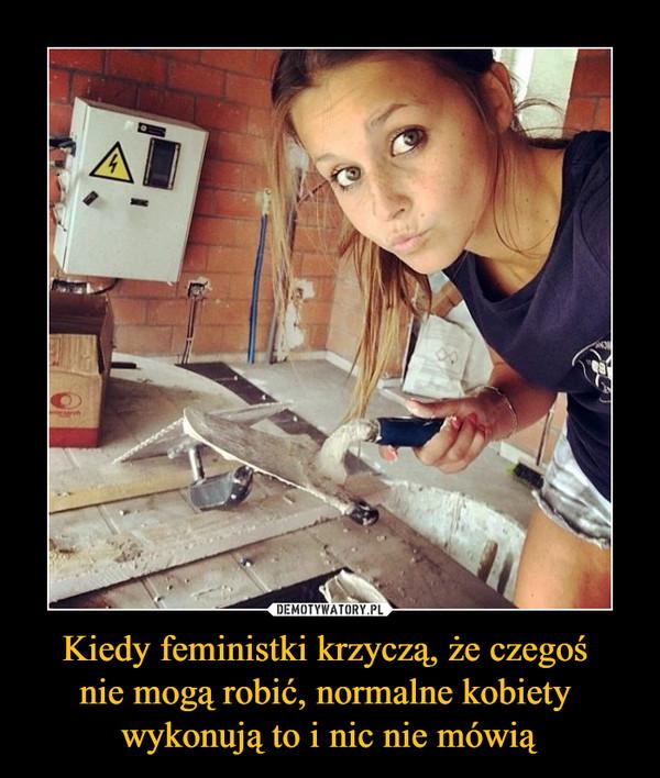 Kiedy feministki krzyczą, że czegoś nie mogą robić, normalne kobiety wykonują to i nic nie mówią –