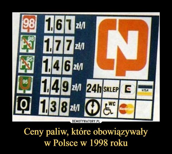 Ceny paliw, które obowiązywaływ Polsce w 1998 roku –