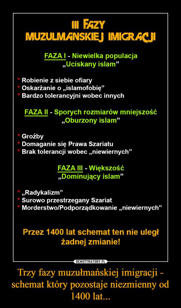 Trzy fazy muzułmańskiej imigracji - schemat który pozostaje niezmienny od 1400 lat... –