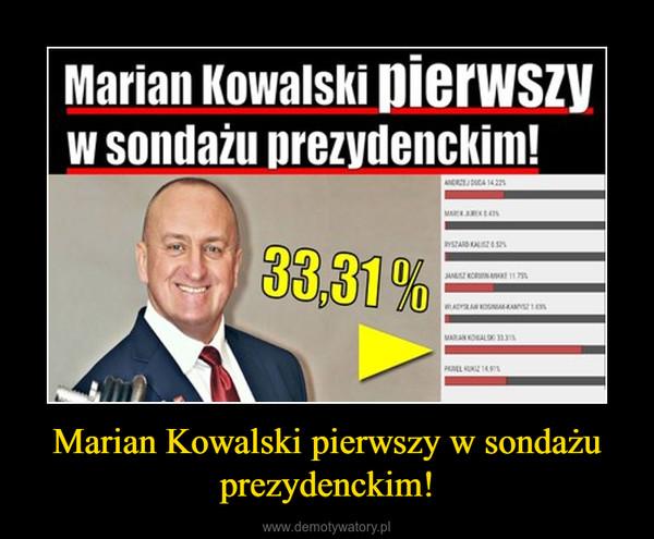 Marian Kowalski pierwszy w sondażu prezydenckim! –