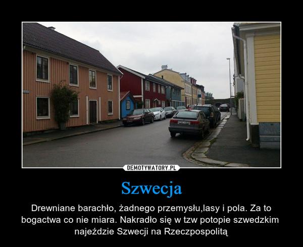 Szwecja – Drewniane barachło, żadnego przemysłu,lasy i pola. Za to bogactwa co nie miara. Nakradło się w tzw potopie szwedzkim  najeździe Szwecji na Rzeczpospolitą