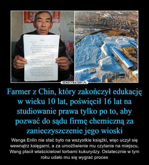Farmer z Chin, który zakończył edukację w wieku 10 lat, poświęcił 16 lat na studiowanie prawa tylko po to, aby pozwać do sądu firmę chemiczną za zanieczyszczenie jego wioski – Wanga Enlin nie stać było na wszystkie książki, więc uczył się wewnątrz księgarni, a za umożliwienie mu czytanie na miejscu, Wang płacił właścicielowi torbami kukurydzy. Ostatecznie w tym roku udało mu się wygrać proces