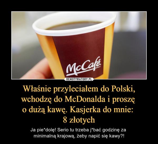 Właśnie przyleciałem do Polski, wchodzę do McDonalda i proszę o dużą kawę. Kasjerka do mnie: 8 złotych – Ja pie*dolę! Serio tu trzeba j*bać godzinę za minimalną krajową, żeby napić się kawy?!