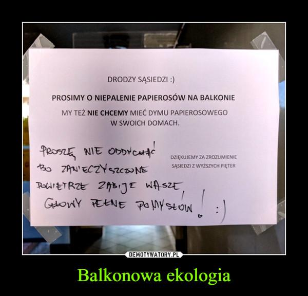 Balkonowa ekologia –